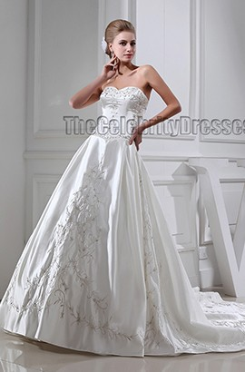 A-Line Sweetheart Strapless Embroidered Lace Up Wedding Dress