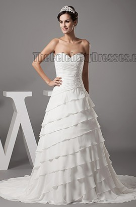 A-Line Sweetheart Strapless Lace Up Chapel Train Wedding Dress