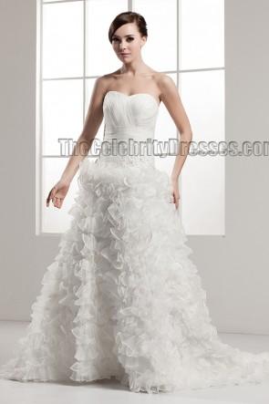 A-Line Sweetheart Strapless Ruffles Chapel Train Wedding Dress