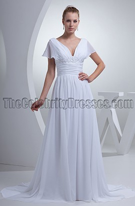 Elegant A-Line V-Neck Cap Sleeve Wedding Dresses