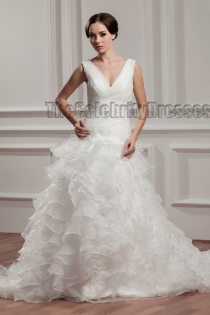 A-Line V-Neck Ruffles Chapel Train Wedding Dresses