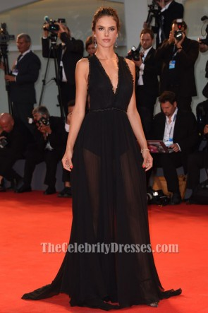 Alessandra Ambrosio BlacK Backless Evening Dress'Spotlight' Venice Film Festival Premiere TCD6184