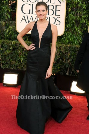 Allison Williams Black Evening Dress Golden Globes 2013 Red Carpet Gown TCD6441