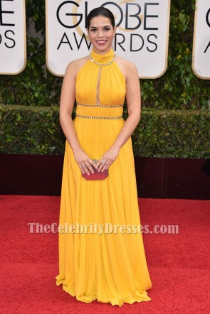 America Ferrera 73rd Annual Golden Globe Awards Yellow Formal Dress TCD6522