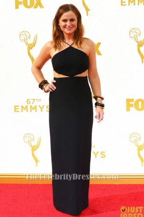 Amy Poehler Black Cut Out Evening Dress 2015 Emmys Red Carpet TCD6312