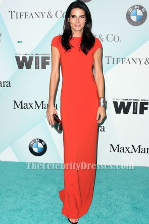 Angie Harmon Red Short Sleeves Evening Dress In Film 2015 Crystal + Lucy Awards TCD6167