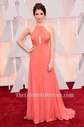 Anna Kendrick 2015 Oscars Red Carpet Coral Formal Dress TCD6048