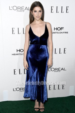 Anna Kendrick Royal Blue V-neck Evening Dress 23rd Annual ELLE Women TCD6873