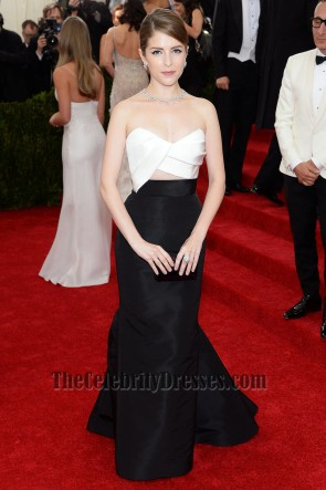 Anna Kendrick White And Black Formal Dress 2014 Met Gala Red Carpet