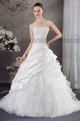 Ball Gown Beaded Strapless Chapel Train Wedding Dresses