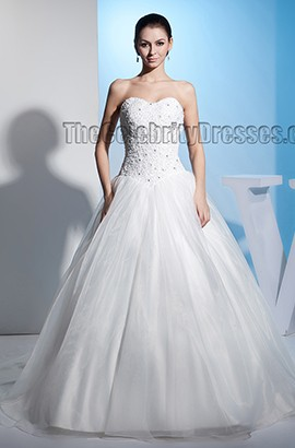 Ball Gown Beaded Strapless Embroidered Chapel Train Wedding Dress