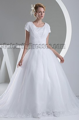 Discount Ball Gown Short Sleeve Organza Wedding Dress
