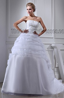 Ball Gown Strapless Beaded Chapel Train Wedding Dresses