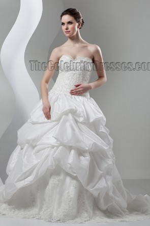 Ball Gown Strapless Sweetheart Lace Taffeta Chapel Train Wedding Dress