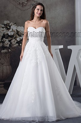 Ball Gown Sweetheart Strapless Embroidery Lace Up Wedding Dress