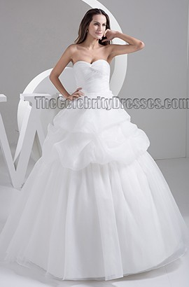 Ball Gown Sweetheart Strapless Organza Chapel Train Wedding Dress