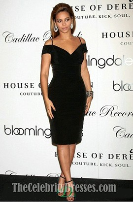 Beyonce Knee Length Black Off-the-Shoulder Party Cocktail Dresses