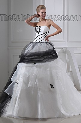 Black And White Ball Gown Strapless Chapel Train Wedding Dress