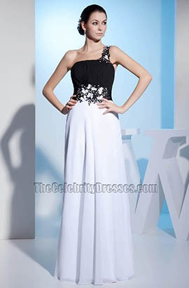 Black And White Chiffon Prom Gown Evening Formal Dresses