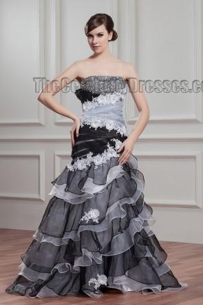 Black And White Strapless Beaded Evening Formal Dresses
