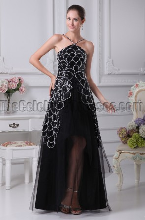 A-Line Black Sequined Evening Gown Prom Dresses