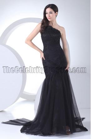 Black Mermaid One Shoulder Formal Dress Evening Gown