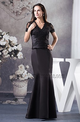 Black Mermaid V-Neck Floor Length Prom Gown Formal Dress