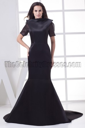 Celebrity Inspired Black Open Back Formal Gown Evening Dresses