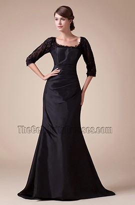 Black Scoop Neckline Taffeta Lace Formal Dress Evening Gown