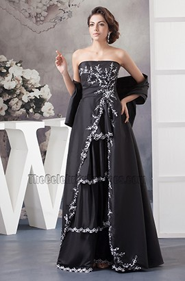 Elegant Black Strapless Embroidered Formal Dress Prom Gown