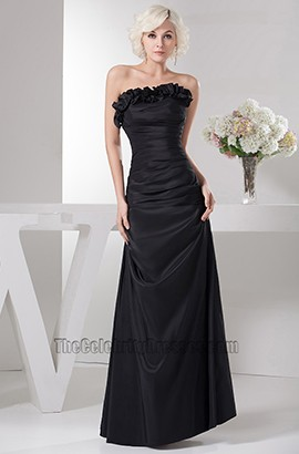 Floor Length Black Strapless Prom Gown Evening Dress With A Wrap