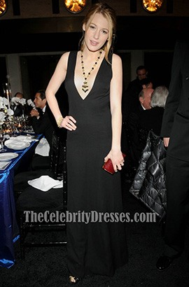 BLAKE LIVELY Simple Black Evening Dress 75th anniversary Winter Ball