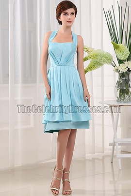 Discount Blue Halter Cocktail Party Homecoming Dresses
