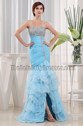 New Style Blue Strapless Mermaid Formal Dresses Prom Gowns