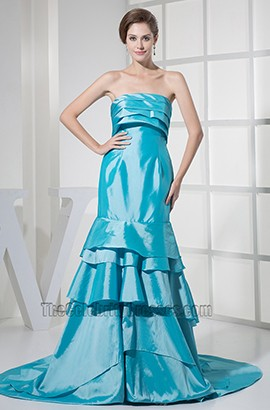 Blue Taffeta Strapless Prom Bridesmaid Dresses Formal Gown