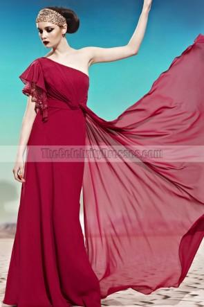 Burgundy One Shoulder Floor Length Formal Dress Prom Gown