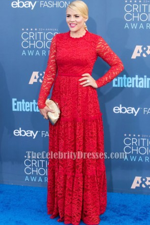 Busy Philipps Red Long Sleeve Lace Formal Dress CHOICE AWARDS 2016 Red Carpet Gown TCD7041