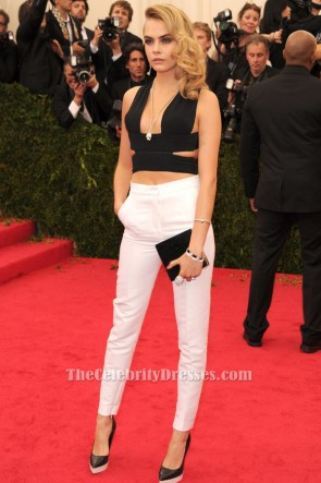 Cara Delevingne Sexy Black Top MET 2014 Red Carpet TCD6195