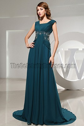 Celebrity Inspired Chiffon Beaded Formal Dress Evening Prom Dresses
