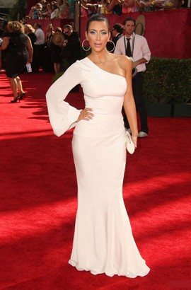 Kim Kardashian White One Sleeve Prom Formal Dress Emmy Awards 2009 Red Carpet