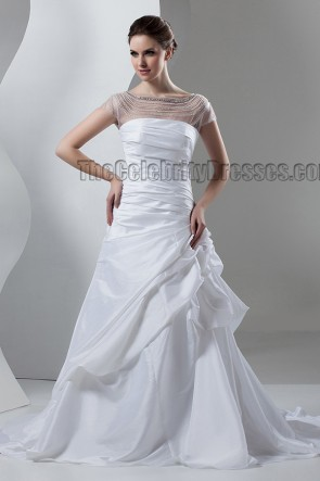 Celebrity Inspired A-Line Beaded Taffeta Wedding Dresses