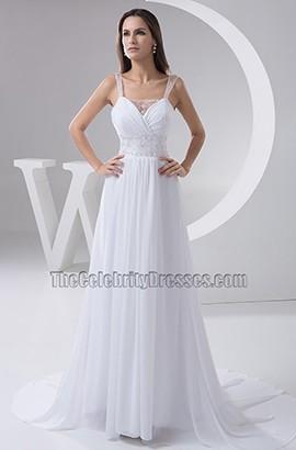 Celebrity Inspired A-Line Chiffon Wedding Dress With Beadwork