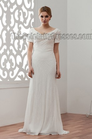 Celebrity Inspired Beaded Sweep/Brush Train Wedding Dress Bridal Gown
