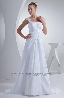 Celebrity Inspired Cap Sleeves Chiffon A-Line Wedding Dress