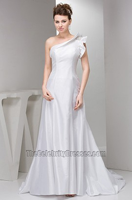 Celebrity Inspired Chapel Train One Shoulder Taffeta Wedding Dresses