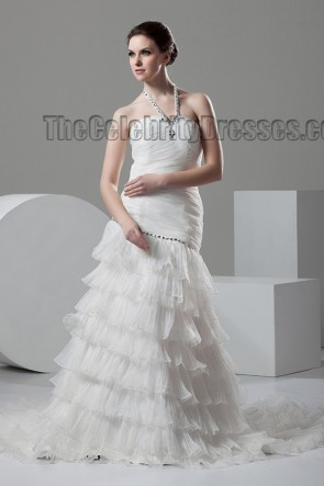 Celebrity Inspired Halter A-Line Ruffles Wedding Dresses