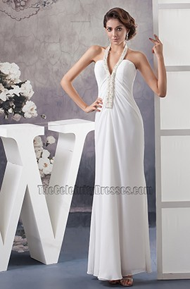 Celebrity Inspired Halter Floor Length Informal Wedding Dress