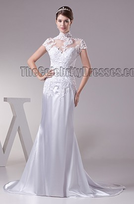 Celebrity Inspired High Neck Lace Cap Sleeve Wedding Dress