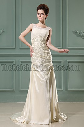 Sheath Column Ivory Long Prom Dress Evening Gowns