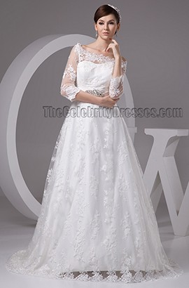 Celebrity Inspired Lace Long Sleeve Sweep/Brush Train Wedding Dress